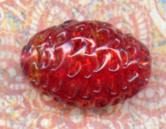 Vintage Red Glass Spun Spiderweb Bead, 1930 Czechoslovakian 31x19mm