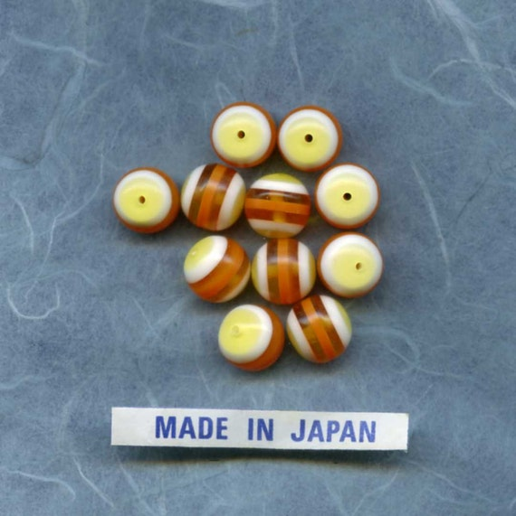 Vintage Orange, Yellow, and White Lucite Beads 10 mm (10)