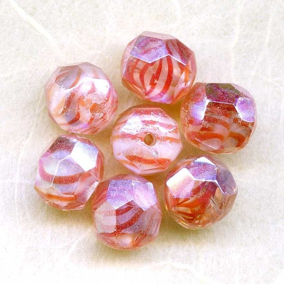 Peach and Coral Beads,  Faceted W German Vintage AB 9mm (7)