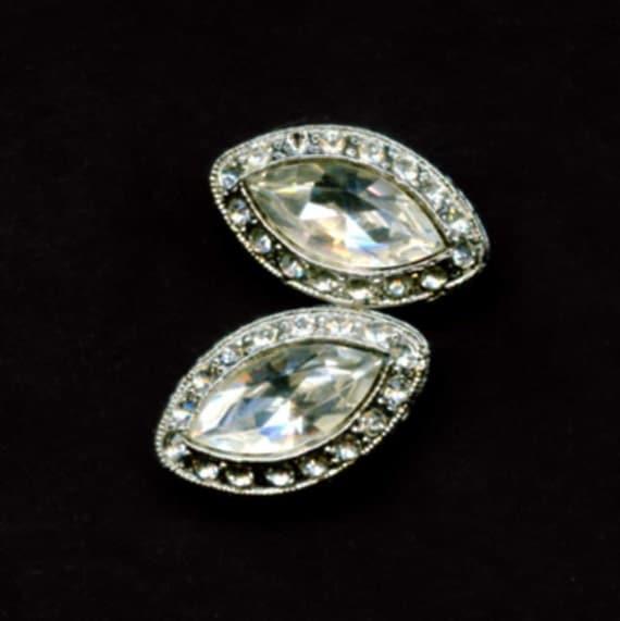 Vintage Rhinestone Separators or Slide Beads, Swarovski Stones