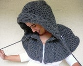 Dark Gray Tweed Poncho With Cable Knit Hood