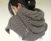 Brown Tweed Poncho With Cable Knit Hood