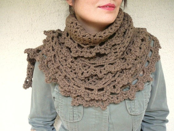Winter SALE %40 Brown Shawl With Lace