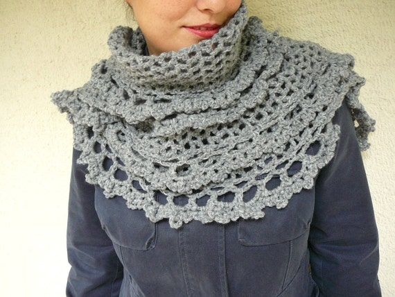 Gray Shawl With Lace