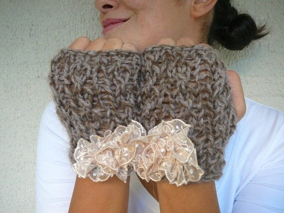 Brown - Taupe Mohair Gloves With Lace Flower