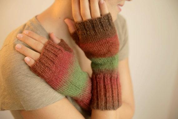 Green Blended Red Brown Cherry Fingerless Gloves