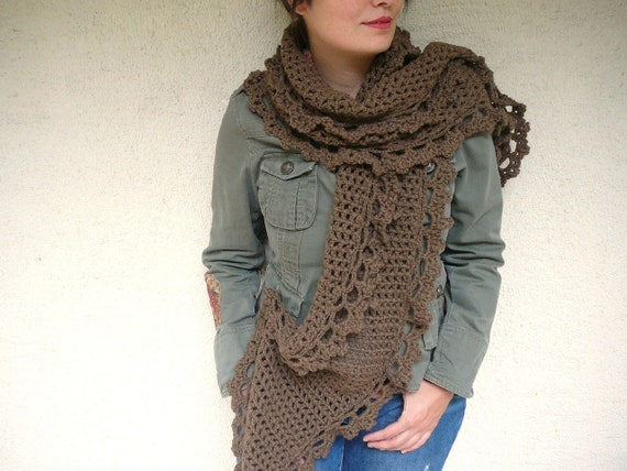 Brown Shawl With Crocheted Lace by Afra