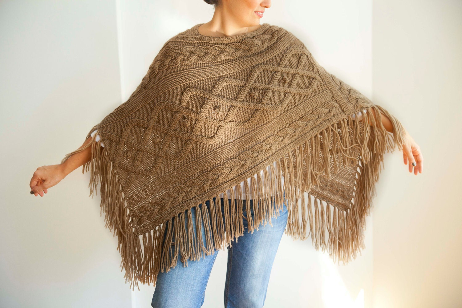 Beige Cable Knit Poncho by Afra