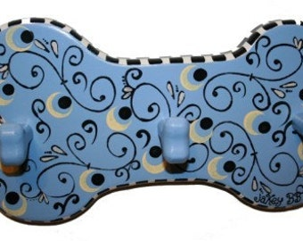 CLEARANCE!! Blue Swirl Leash Hook by Jakey BB, Hand-Painted Dog Bone Plaque Leash Hook