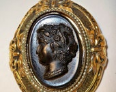 Black Cameo Clip Vintage Black & Gold Clothing Clip for Scarf, Dress, Coat or Upcycle Repurpose Jewelry Supply