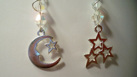 Crystal Silver Moon and Stars Earrings