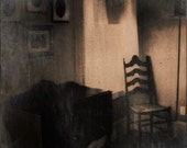 Where Ghosts Sit - Chair & Window Spooky Foggy Sepia Polaroid Photo Print  - Corner Window and Chair with Sideboard Photo