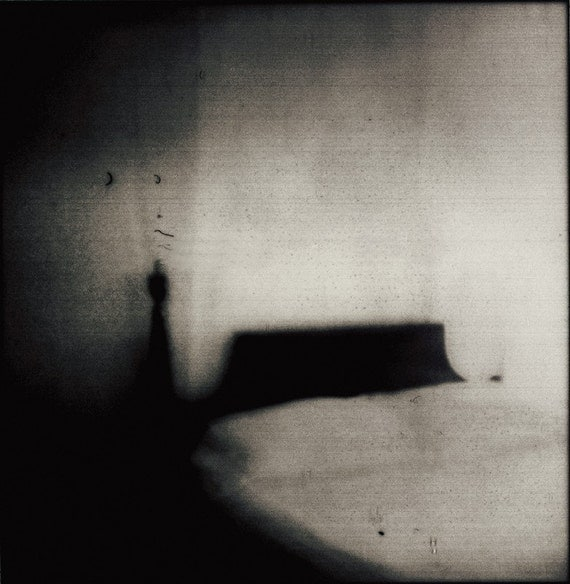 Ghost Bed - 12 x12 Spooky Goth Shadowy Bed Photo Print - Black and White Polaroid Mystery