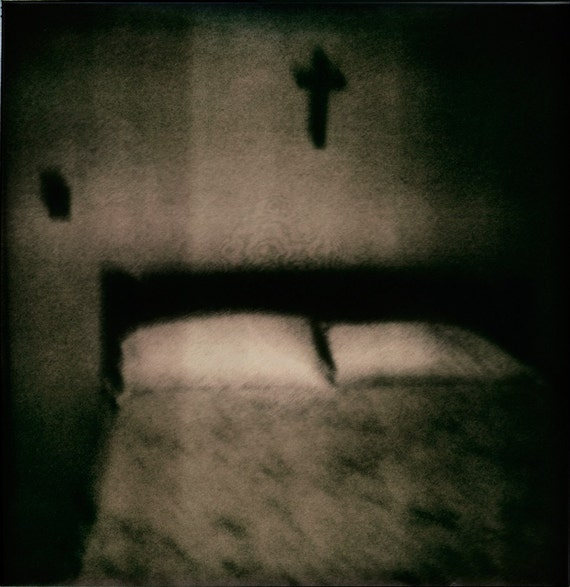 My Soul To Keep - Spooky Bed with Cross Sepia Polaroid Photo Print - Dark Shadowy Bed Photo - Grainy Eerie Image
