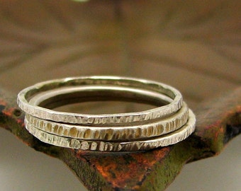 Stacking  Silver Ring with a Hash Mark texture