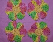Crochet Cotton Flower Face Scrubbies or Appliques FUN COLORS