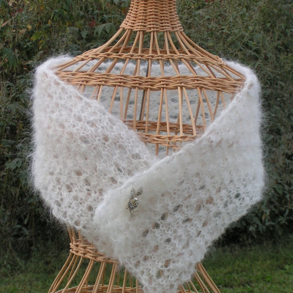 Shawl Knitting Pattern Shawlette Lace Lacy Mohair Shawlette