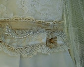 Bridal Sash of Antique Silk and Lace, Vintage Elements, Ready to Ship