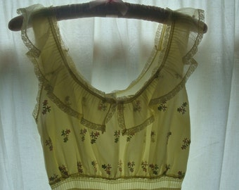 Vintage Nightgown in Pale Butter Yellow with Embroidered Bodice