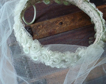 Vintage Bridal Wreath Headpiece with Blusher Veil in Pale Mint Green