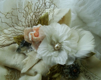 Bridal Sash with Vintage Millinery Flowers, Antique Silk and Lace, Custom Order