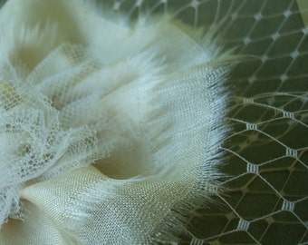 Bridal Hair Comb of Antique Silk and Tulle, Vintage Splendor--Ready to Ship