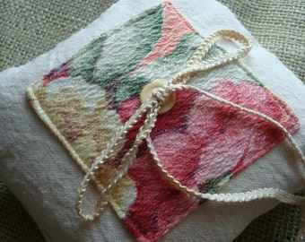 Vintage Barkcloth Ringbearer Pillow of Natural Cotton