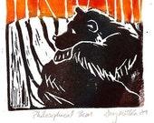 Original Linocut print-Philosophical Bear