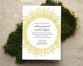 Art Deco Wedding Invitation, Glam Burst