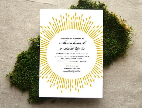 Art Deco Burst Wedding Invitation