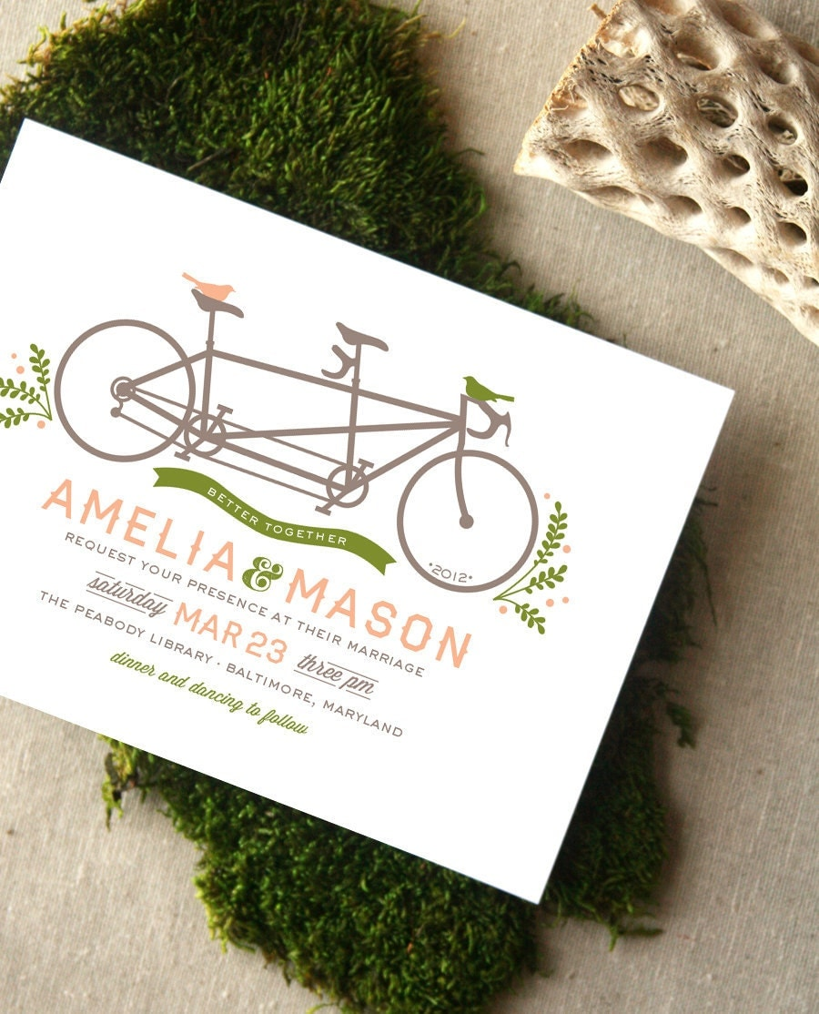 Tandem Bicycle And Birds Wedding Invitation By CheerUpCherup