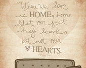 Where We Love Is Home- Beautifully textured cotton canvas art print. Order as an 8x10 11x14 or 16x20 size.