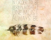 Always Be Different- Beautifully textured cotton canvas art print. Order as an 8x10 11x14 or 16x20 size.