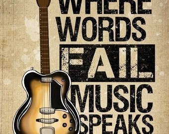 Music Speaks- Beautifully textured cotton canvas art print. Order as an 8x10 11x14 or 16x20 size.