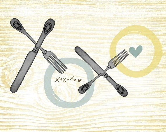 xoxo- perfect for your kitchen- Beautifully textured cotton canvas art print. Order as an 8x10 11x14 or 16x20 size.