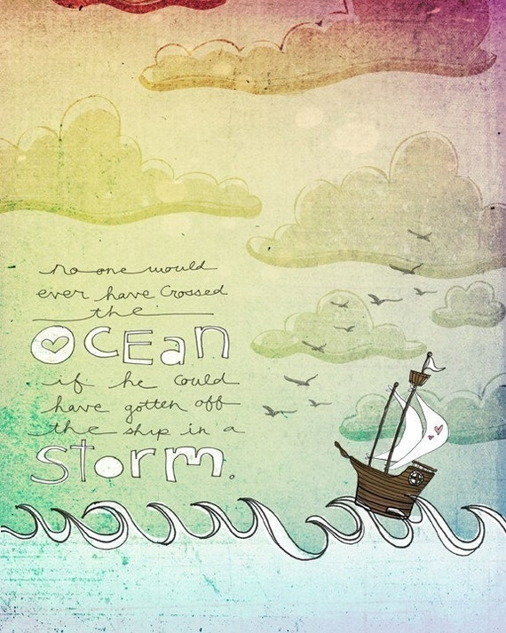 Sailing the storm- Beautifully textured cotton canvas art print. Order as an 8x10 11x14 or 16x20 size.