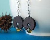 The Kaki Lantern - wood and glass beads earrings