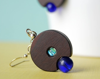 The Blue Lantern - wood and glass beads earrings