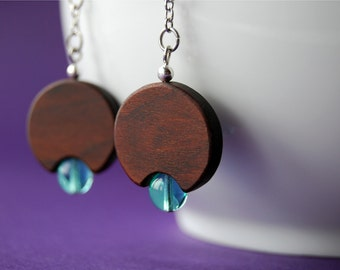 Aqua lamp - wood and glass beads earrings