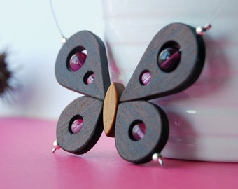 Butterfly wood necklace - Pinky