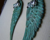 Patina Angel Wings Best Friend Necklaces, Mother Daughter Necklaces, Sisters