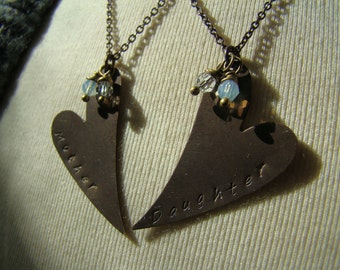 Stamped Brass Hearts Mother Daughter Necklaces