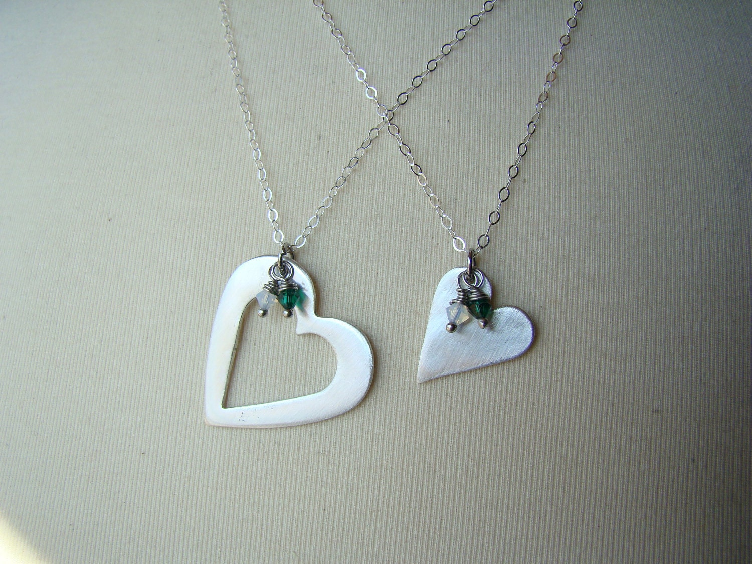 Piece Of My Heart Silver Mother Daughter Necklace Set