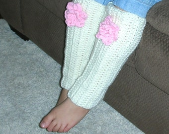 Leg Warmers, Soft and Warm,  Choice of Color, White, Pink