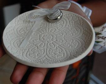 Ring Dish,Weddings, Ring Bearer Ring Pillows ,Porcelain Wedding Ring Dish, Porcelain wedding ring holder, Handmade, Lacy