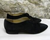 Sz 7. Black Suede Flats. Vintage