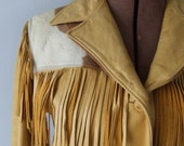Easy Rider 1950's Cowboy Cowgirl Trego WestWear Fringe Leather Jacket Pony Fur Small Butterscotch Leather