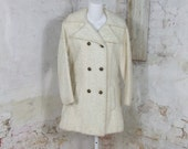 1960s Winter Wool White Poodle Coat Car Coat MadMen Small