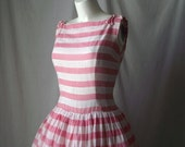 1950s Party Dress Fit and Flair Pink and White Stripes AND Polka Dots  Full Circle Skirt Medium