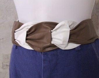80s Leather Belt White and Brown Leather Wrap Belt Ladies One Size